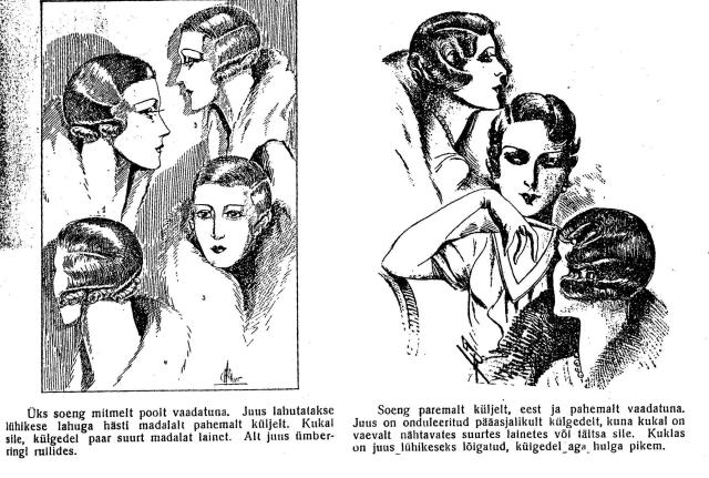 """Soengute näidiseid 1930. Pildid ajakirjast """"Eesti Naine"""" märts 1933."""